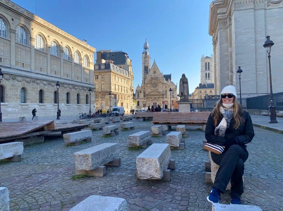 Dariece Sitting Near the Pantheon in Paris France