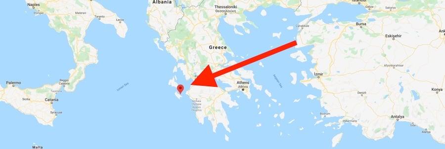 Map Where is Zakynthos Greece