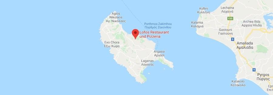 Map of Lofos Restaurant Location Greece