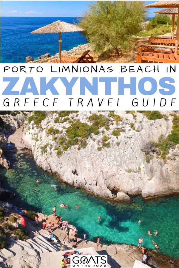 Porto Limnionas Beach Zakynthos with text overlay greece travel guide