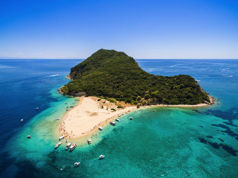 Turtle Island Beach in Zakynthos Aerial View