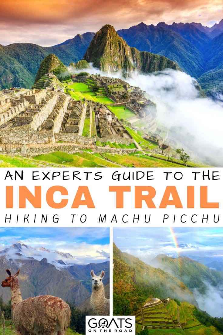 Machu Picchu with text overlay an experts guide to the Inca trail