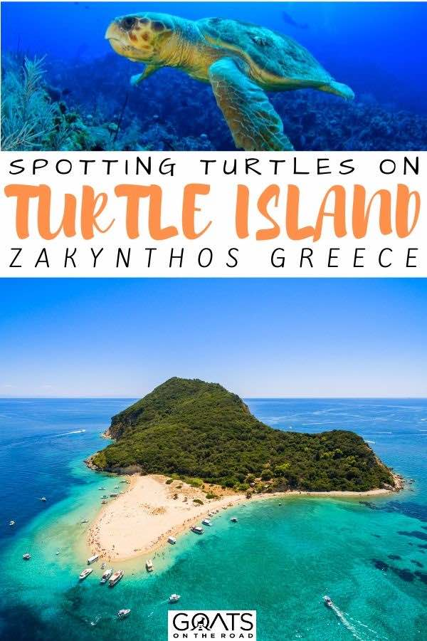 turtle island with text overlay Zakynthos greece