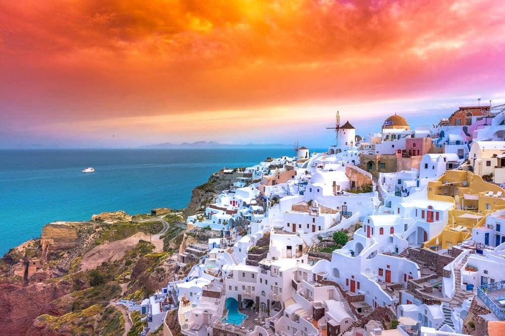 sunset on oia greece