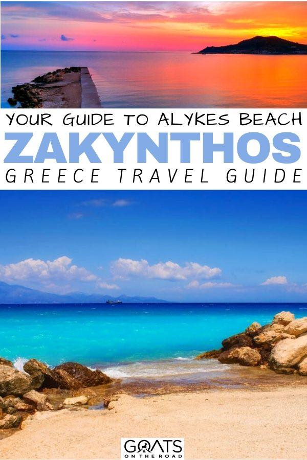 Alykes Beach with text overlay your guide