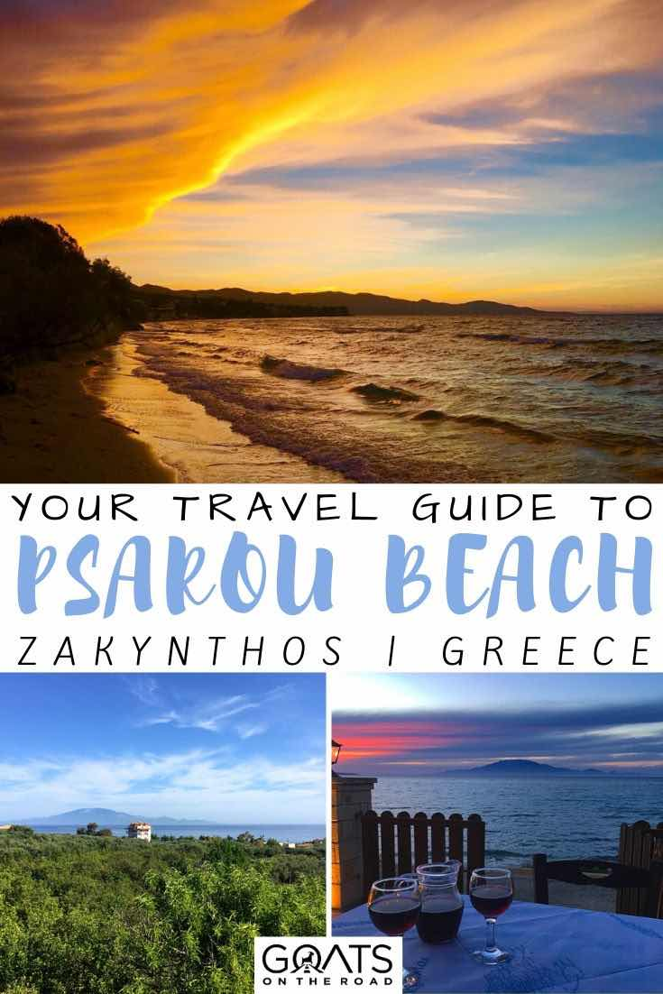 Psarou Beach Zakynthos with text overlay your travel guide