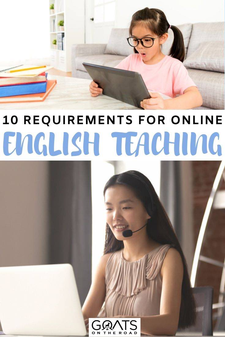 English teacher with text overlay 10 requirements
