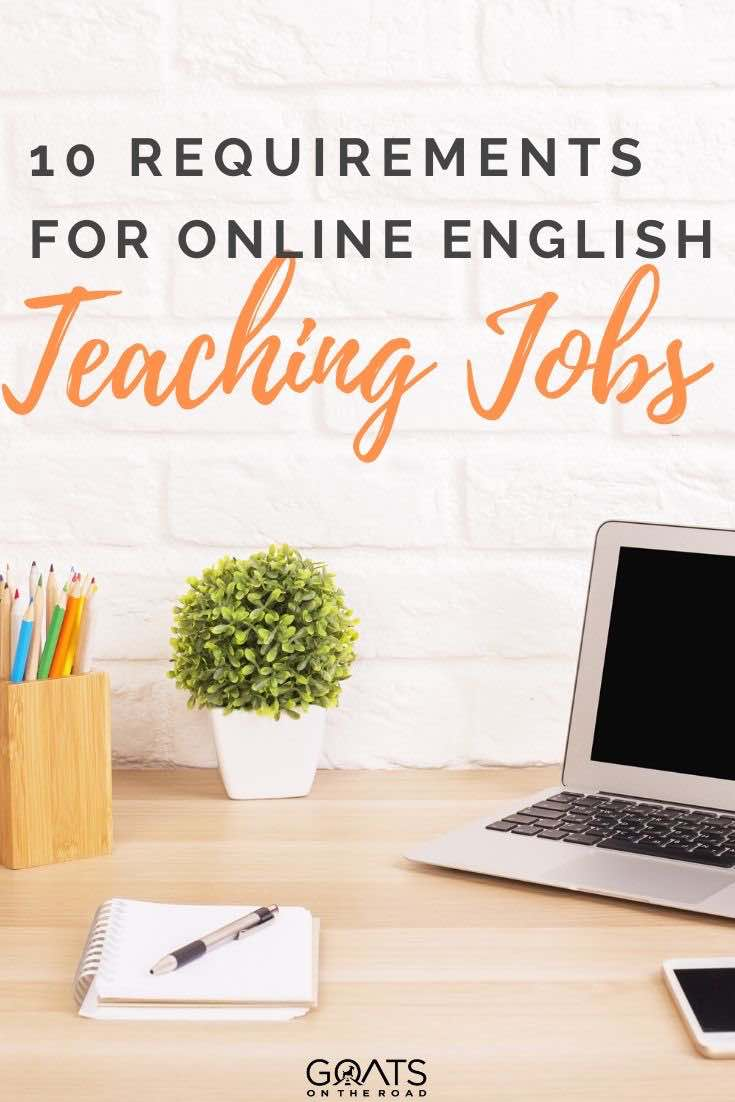 laptop on a desk with text overlay 10 requirements for online English teaching jobs