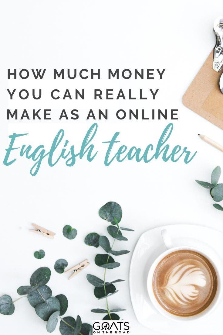 coffee with text overlay how much money you can really make as an online English teacher