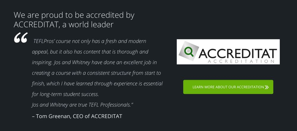 tefl pros is accredited