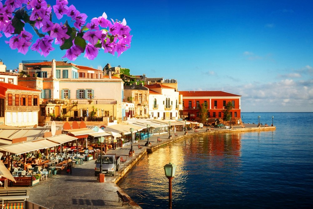 old town of chania on the water in crete greece