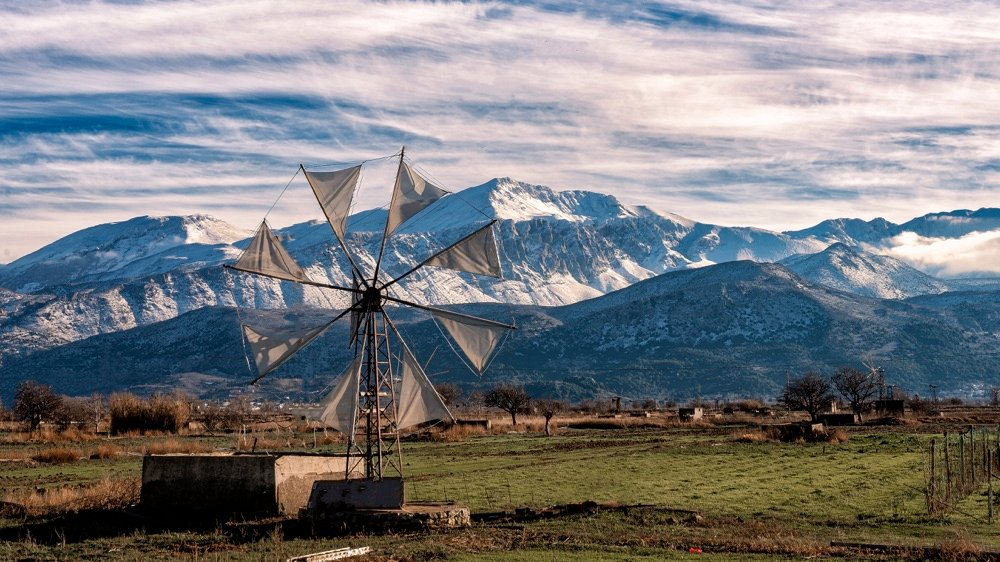 lasithi crete island with windmills and mountains