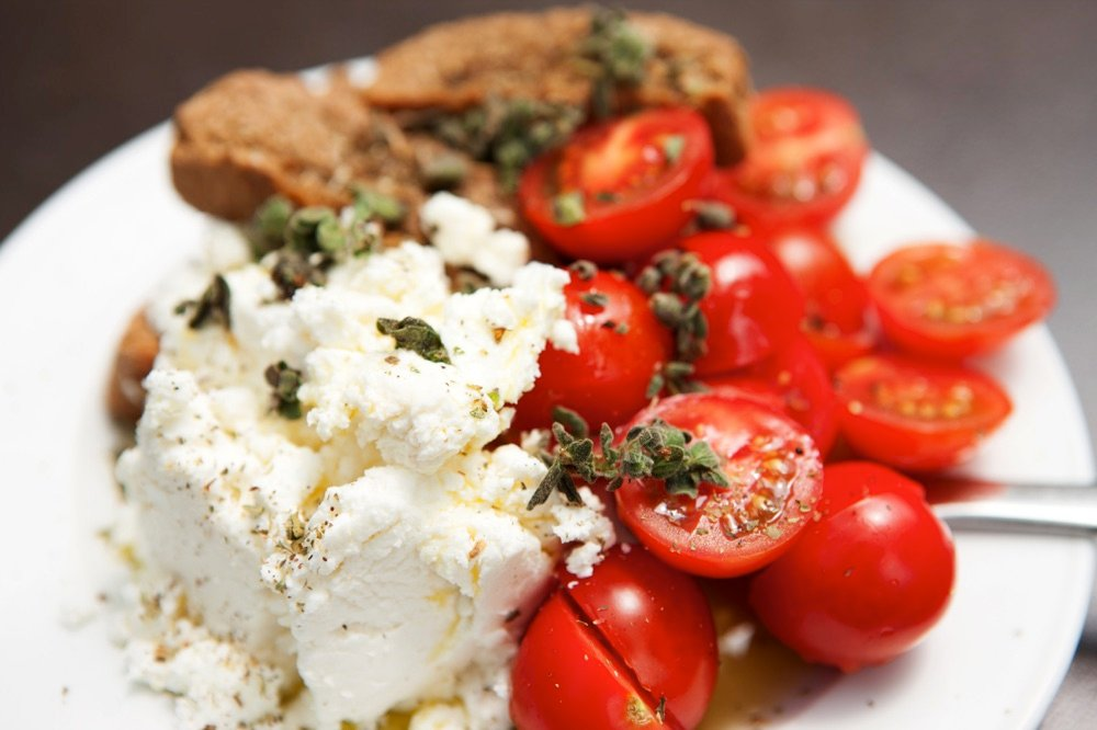 traditional crete food cheese tomatoes and bread