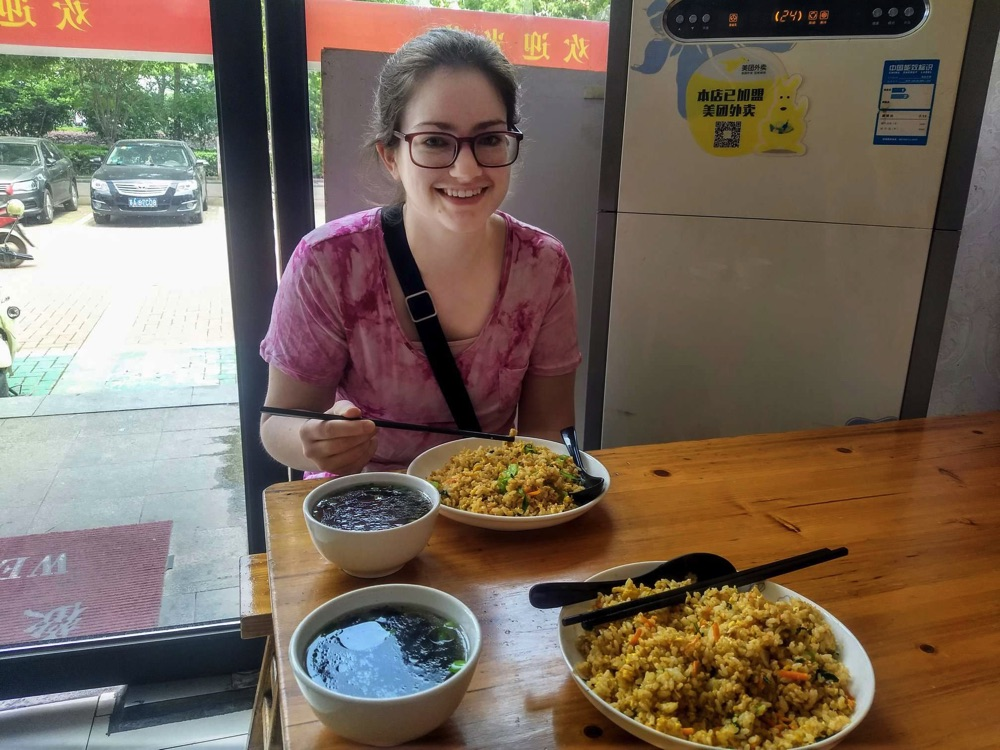 Eating fried rice at our Sunday Restaurant