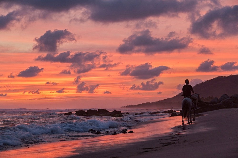 Troncones beach at sunset in mexico