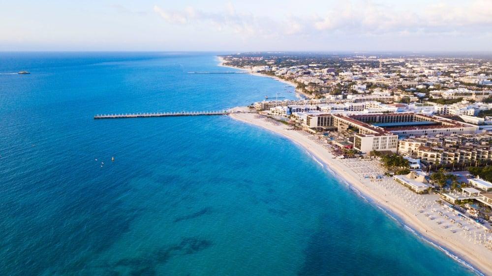 playa del carmen aerial view of beach