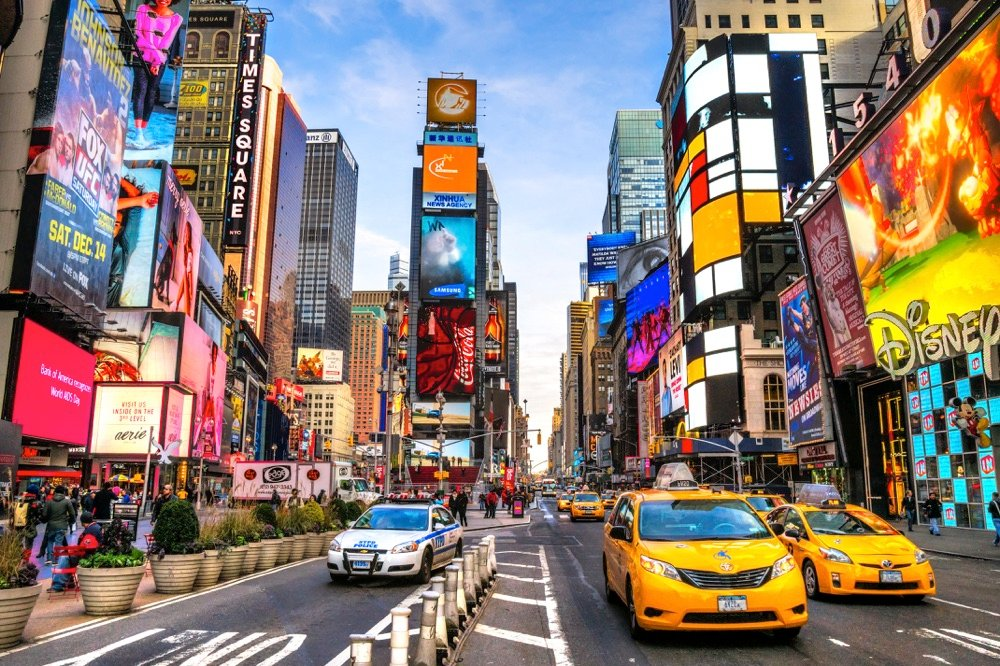 times square and taxis in new york weekend