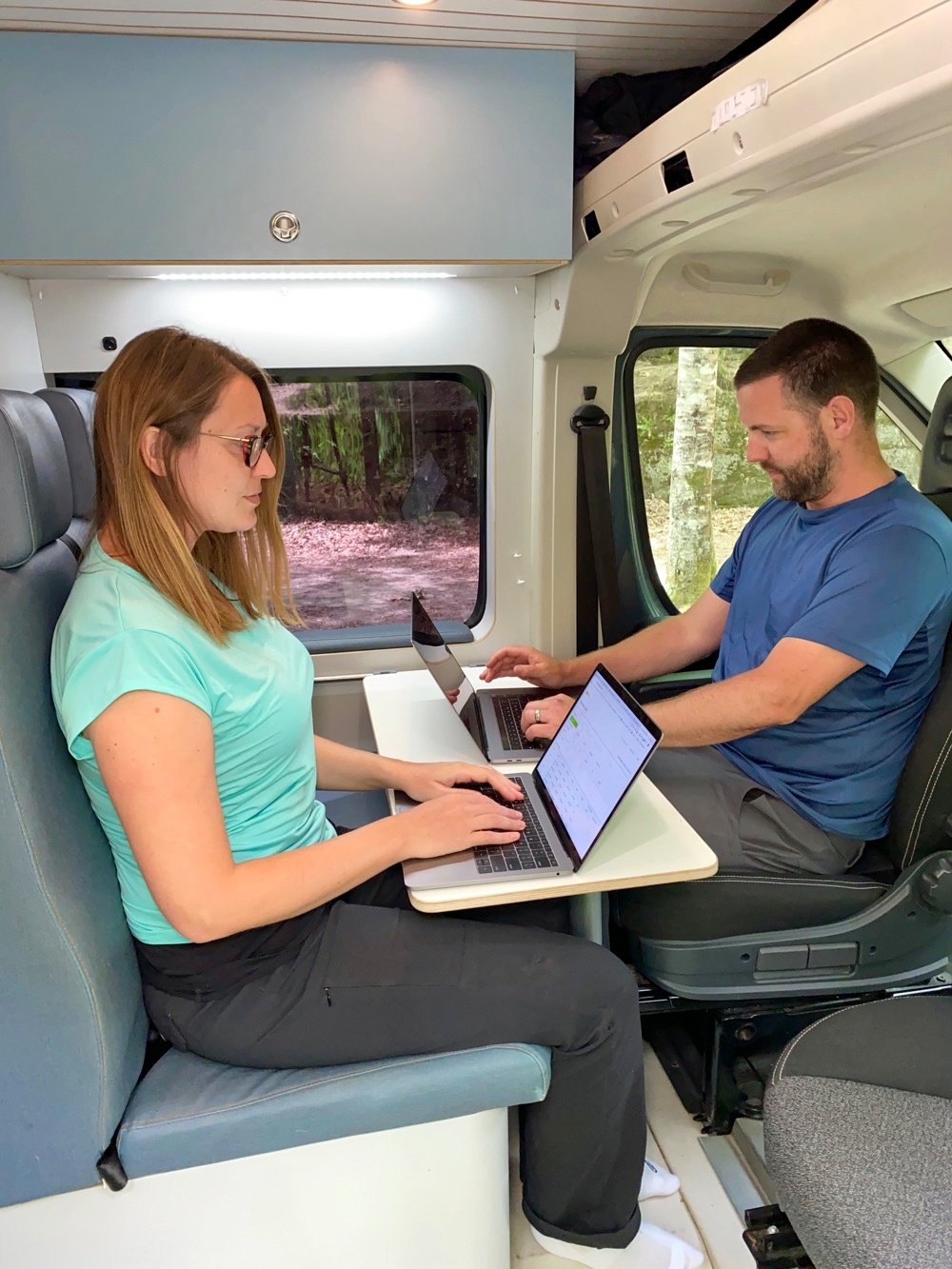 working from a campervan on the computer