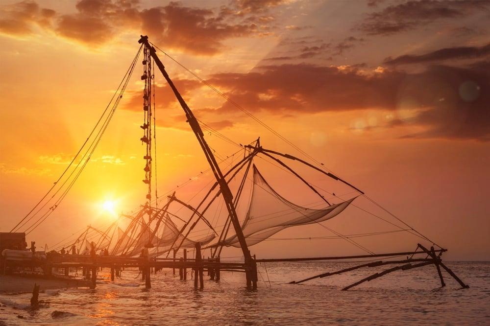 kerala fishing sunset