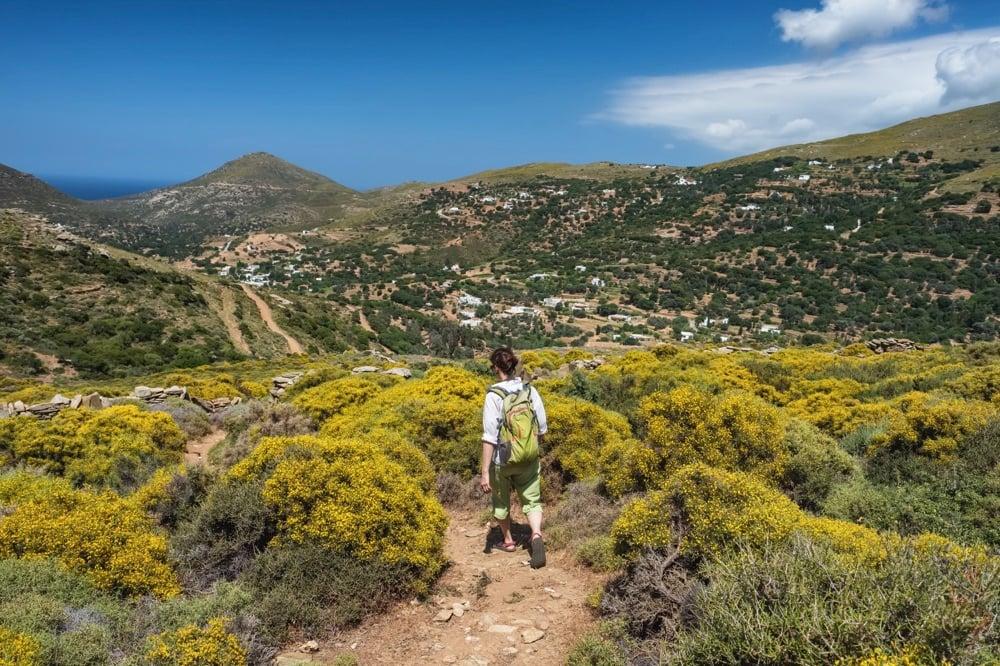 hiking andros island greece