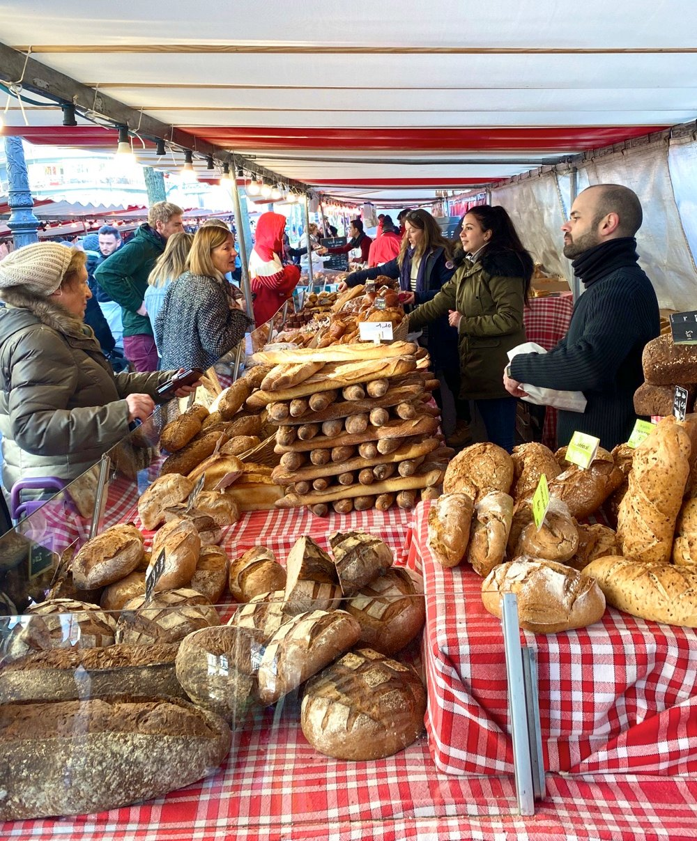 travelling in paris bread at the market