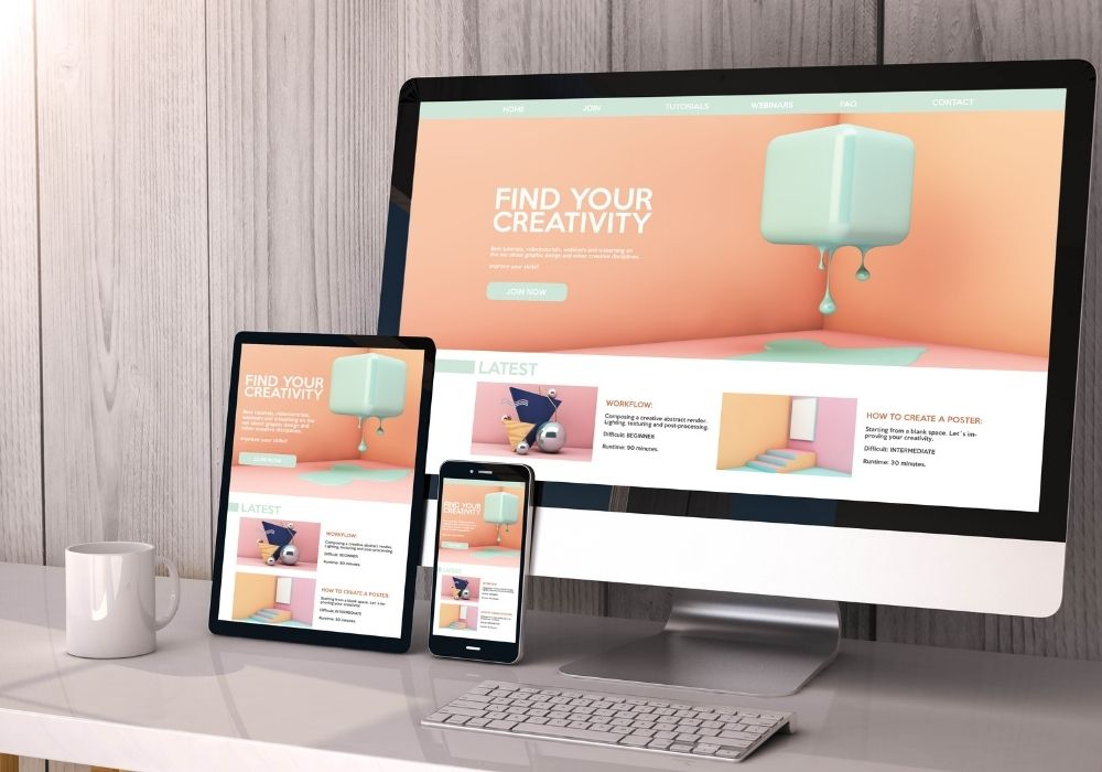 a variety of devices responsive on workspace creativity website graphic design