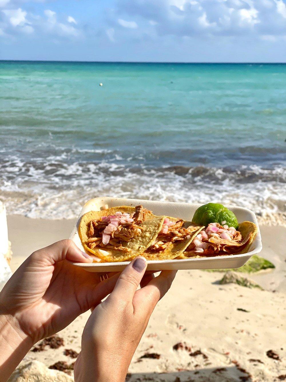 eating tacos in playa del carmen mexico